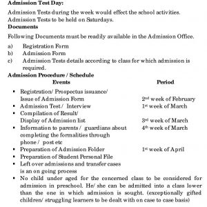 Admission Procedure