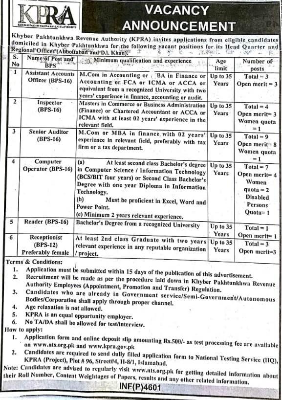 kpk revenue authority jobs